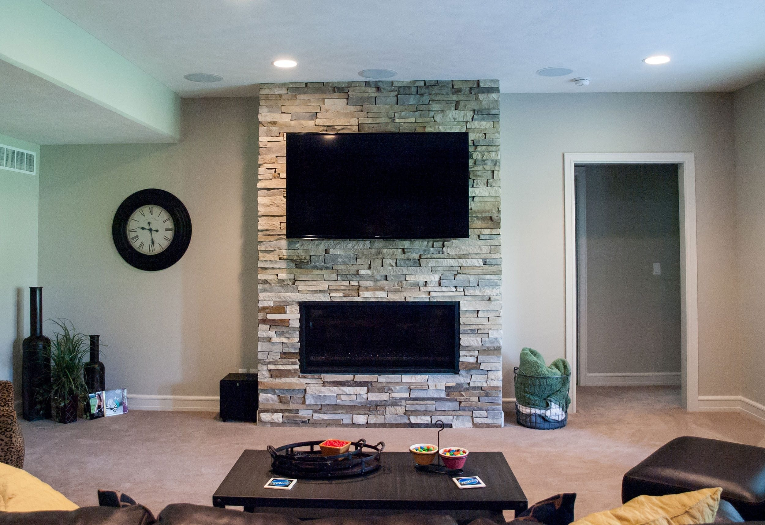 Natural Stone Fireplace with Wall Mount TV Design Ideas