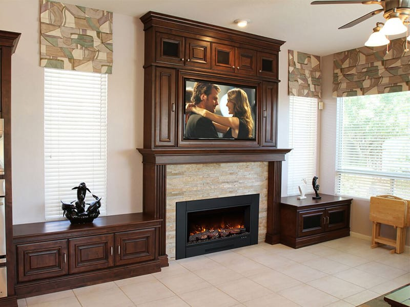 Natural Stone Fireplaces With Wall Mount Television Design Ideas